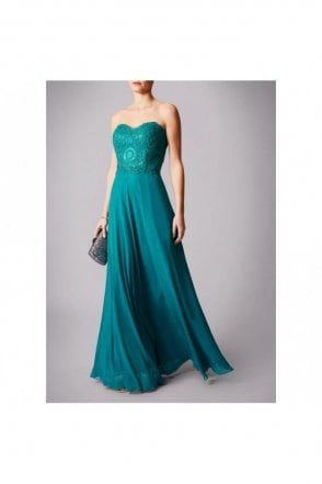 Teal embellished embroidered dress MC181196