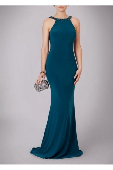 Teal Jewelled Drop Back Gown 181089