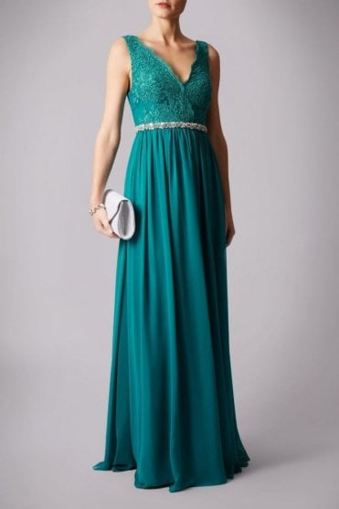 Teal lace shoulder beaded waistband dress MC181141P