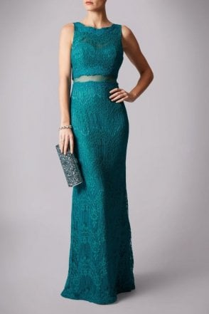 Teal MC166101P mock 2 piece lace dress