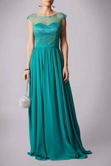 Teal MC181162 pearl top chiffon long gown