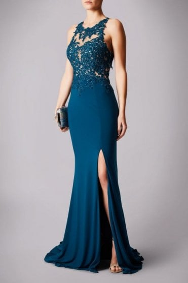 Teal MC181223G lace race back gown