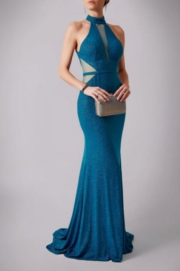 Teal MC181266P net sparkle low back dress
