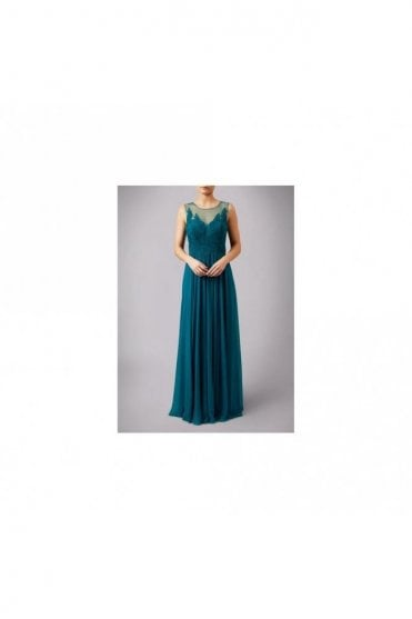 Teal MC185132 Lace Body Illusion Neckline Long Gown