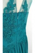 Mascara Teal MC185132 Lace Body Illusion Neckline Long Gown