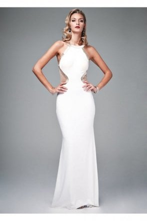 White 181068G Beaded Low Back Cut Out Gown