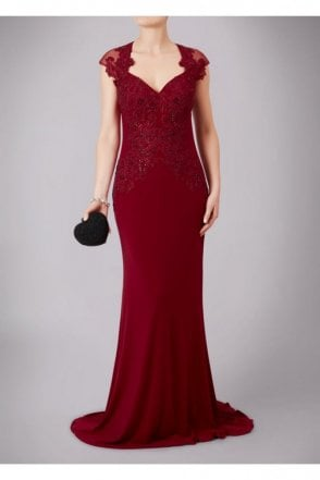Wine Cap Sleeved Lace & Jersey Gown MC181085G