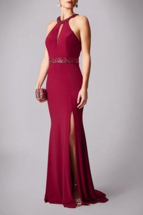 Wine drop neck gown with mesh insert MC181203