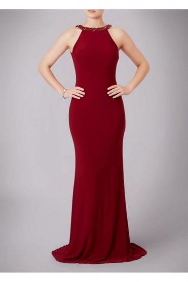 Wine Jewelled Drop Back Gown 181089