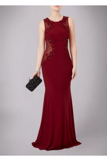 Wine Lace Back Gown MC161045G