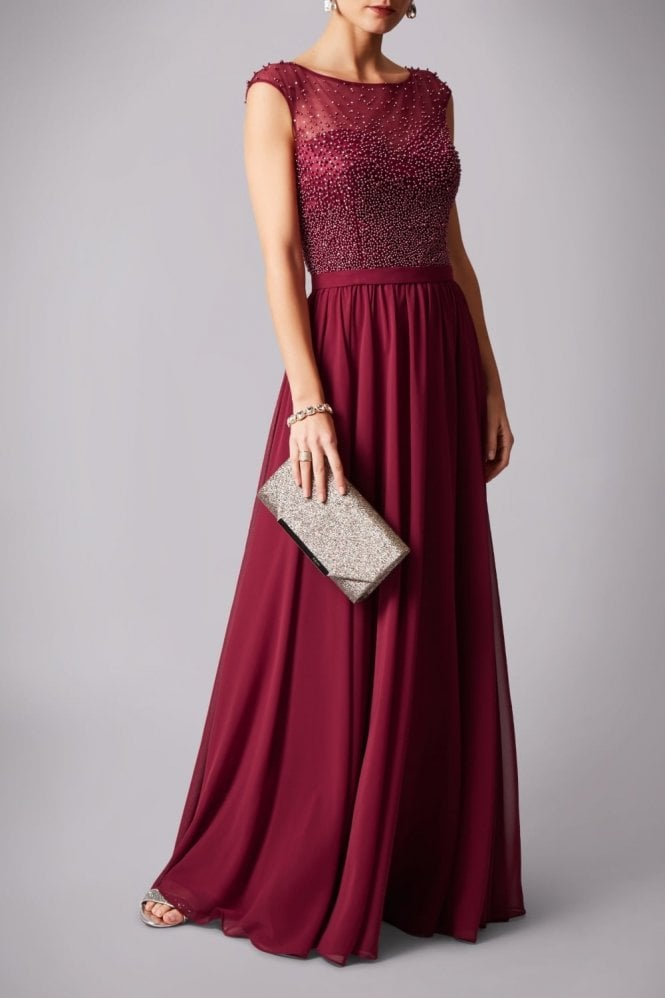 Mascara Wine MC181162 pearl top chiffon long gown