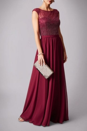Wine MC181162 pearl top chiffon long gown