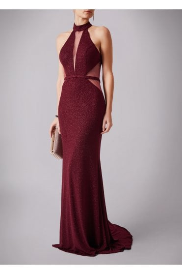 Wine MC181266P net sparkle low back dress