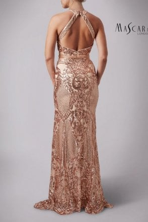 Wine MC181363 Plunging neckline sequined dress