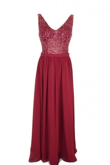 Wine MC186023 Beaded V neck dress