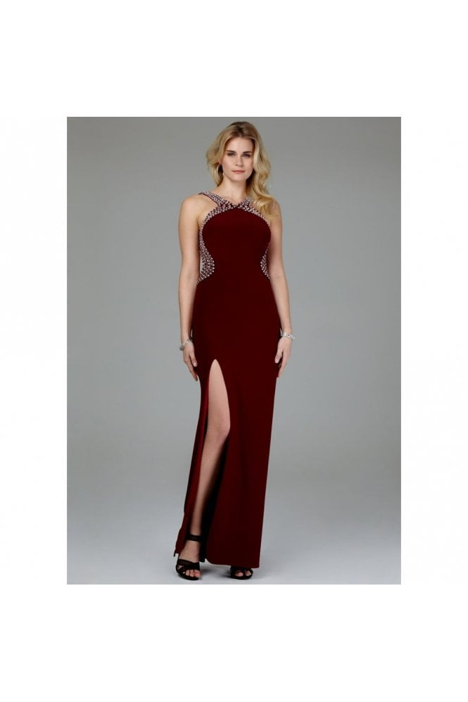 Mascara Wine Pearl Drop Back Couture Gown 185146