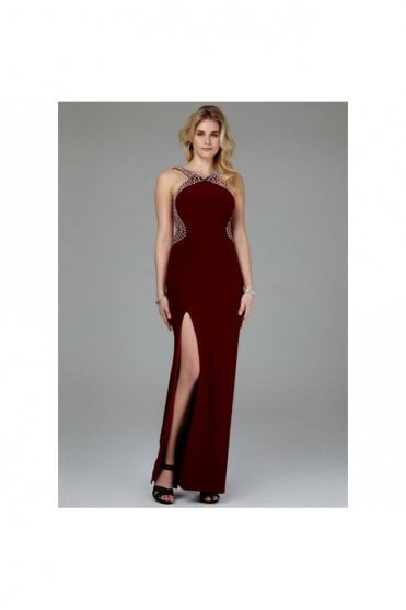 Wine Pearl Drop Back Couture Gown 185146