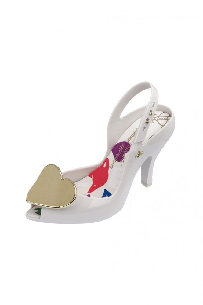 Melissa + Vivienne Westwood VW Lady Dragon 19 metallic Heart shoe in white