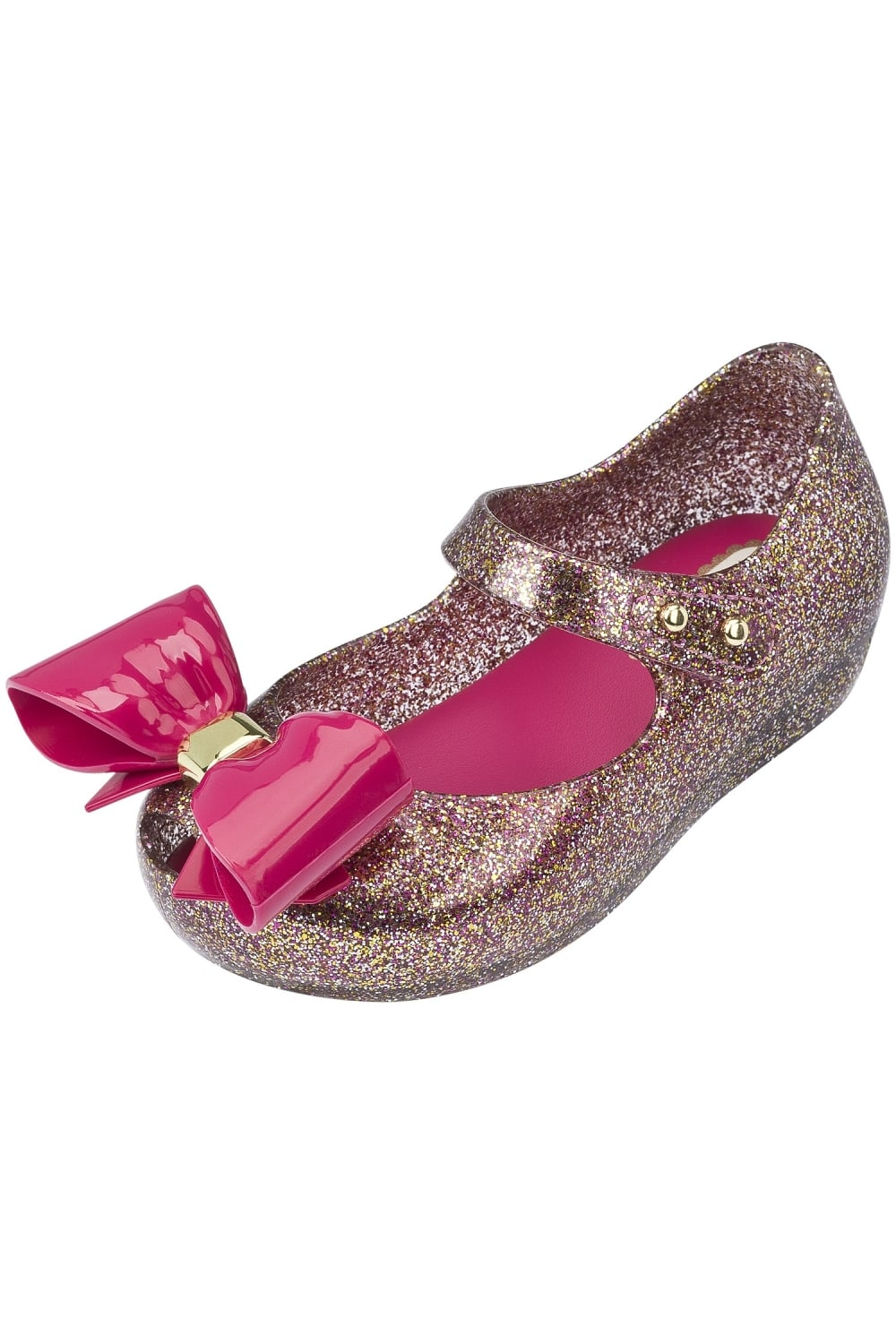 mini ultragirl bow shoes in glitter pink