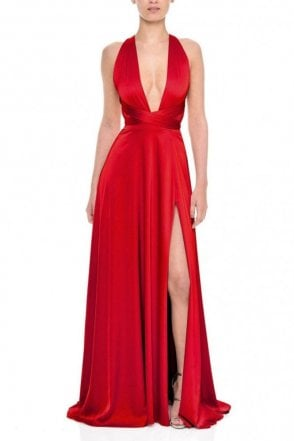Gracie Red Deep V-Neckline Satin Gown