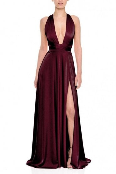Gracie Wine Deep V-Neckline Satin Gown