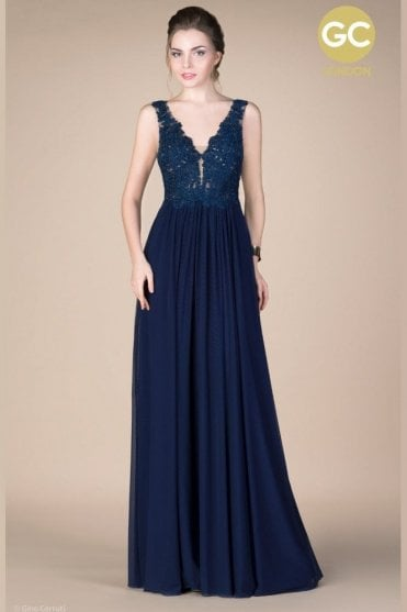Navy Gino Cerruti 2601F beaded lace bodice jersey gown