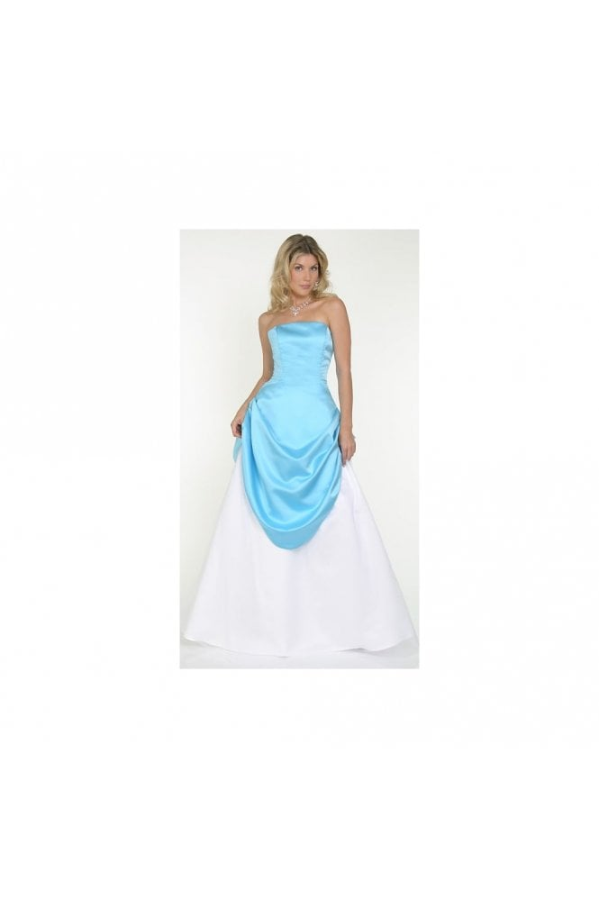 Odette Christiane 9043 Swept Away Satin & Tulle Gown Turquoise & White