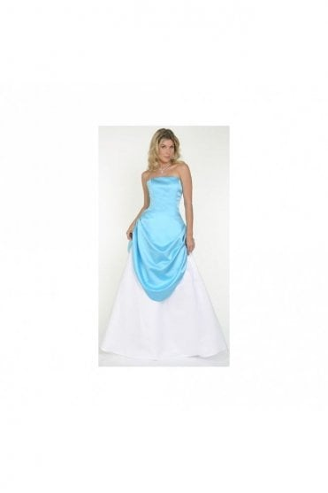 9043 Swept Away Satin & Tulle Gown Turquoise & White