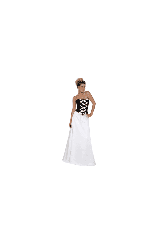 Odette Christiane 9050 Heartbreaker White & Black Satin Ribbon Tie Gown