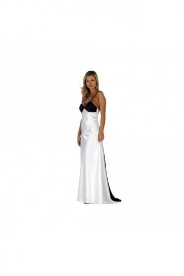 9068 Showstopper Black & White Backless Dress