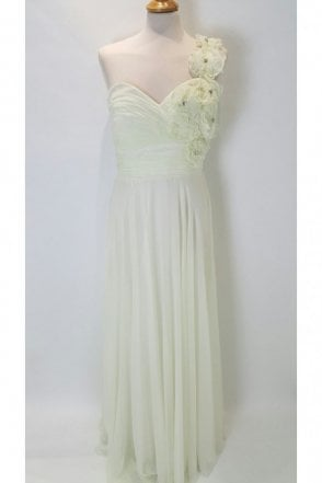 101039 Cream Flower Shoulder Dress