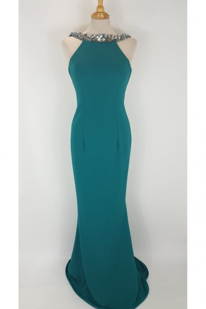 Pia Michi 1221 Teal with Silver Bead detail Long Gown