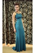 Pia Michi 1331 long black beaded neck detail gown