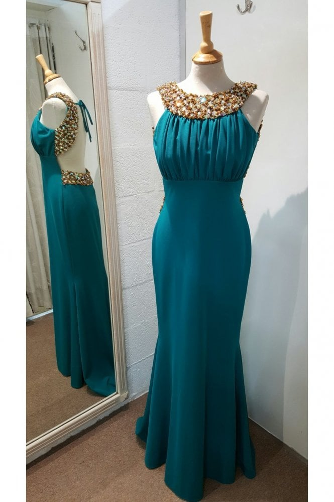 Pia Michi 1331 long jade beaded neck detail gown
