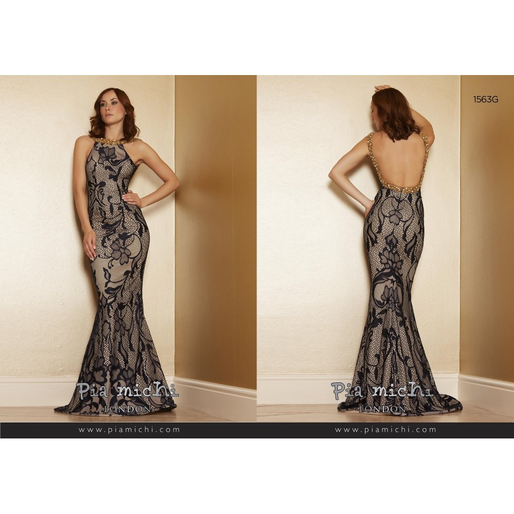 Pia Michi 1563 Lace Ovelay Long Dress In Wine From Cargo