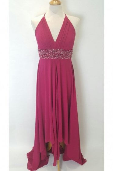 7001-95 Fushia Pink Cross Back Dress