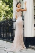 Pia Michi Champagne 1859 glitter halterneck racer back gown