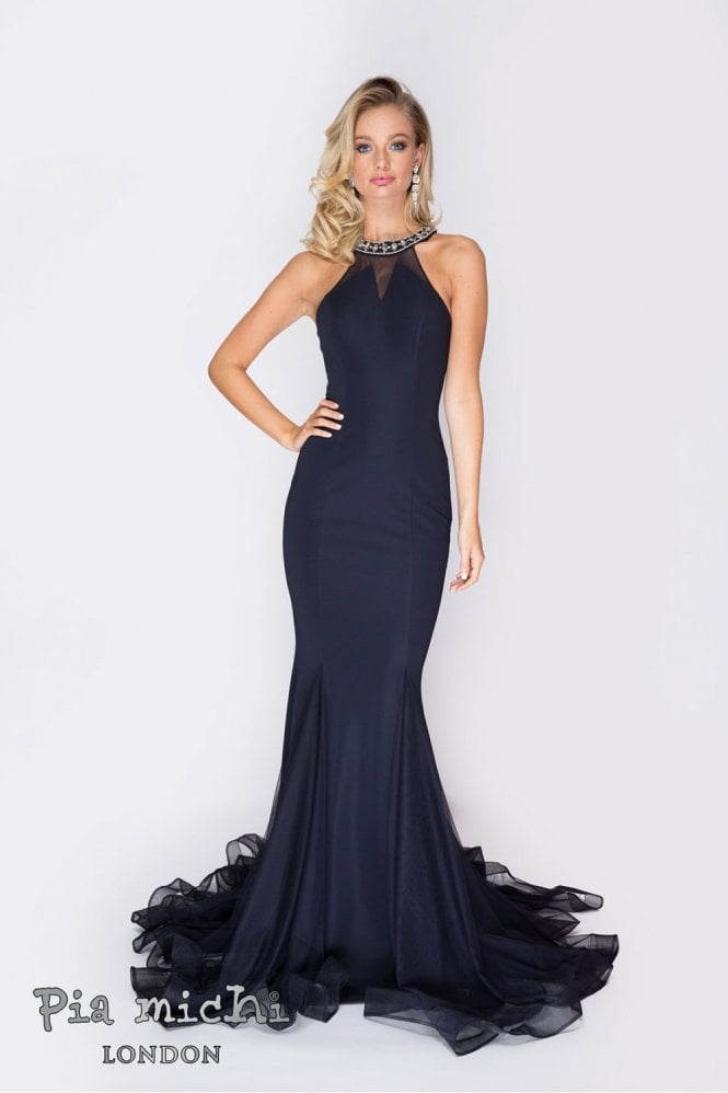 Pia Michi Navy 1832 embellished halter neck open back dress