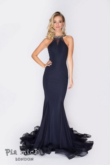 Navy 1832 embellished halter neck open back dress