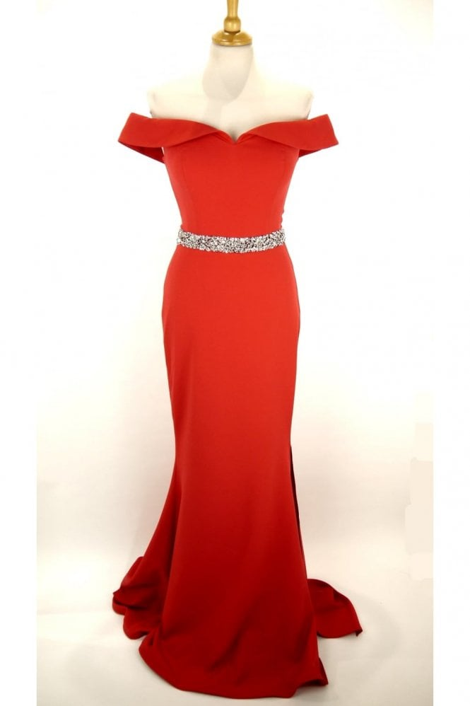 Red 1860 off the shoulder long fitted dress