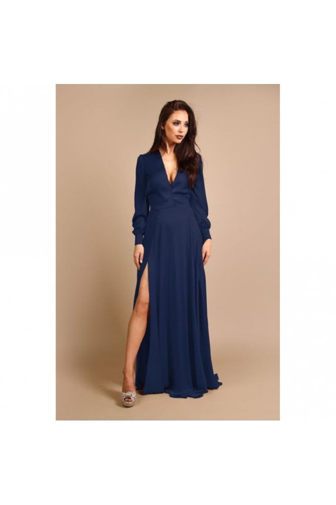 Rebecca Rhoades Willow Navy Long Sleeve Dress