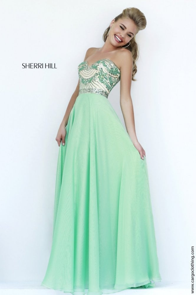 Sherri Hill 1942 light green strapless long dress