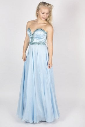 32071 light blue bead detail long dress