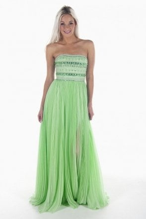 32182 Green Strapless Beaded Gown