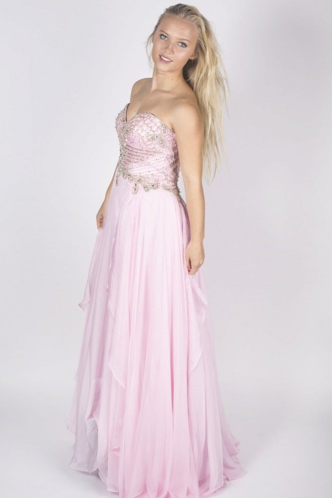 Sherri Hill 3895 light pink bodice detail dress