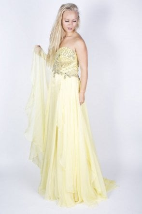 3895 light yellow strapless dress