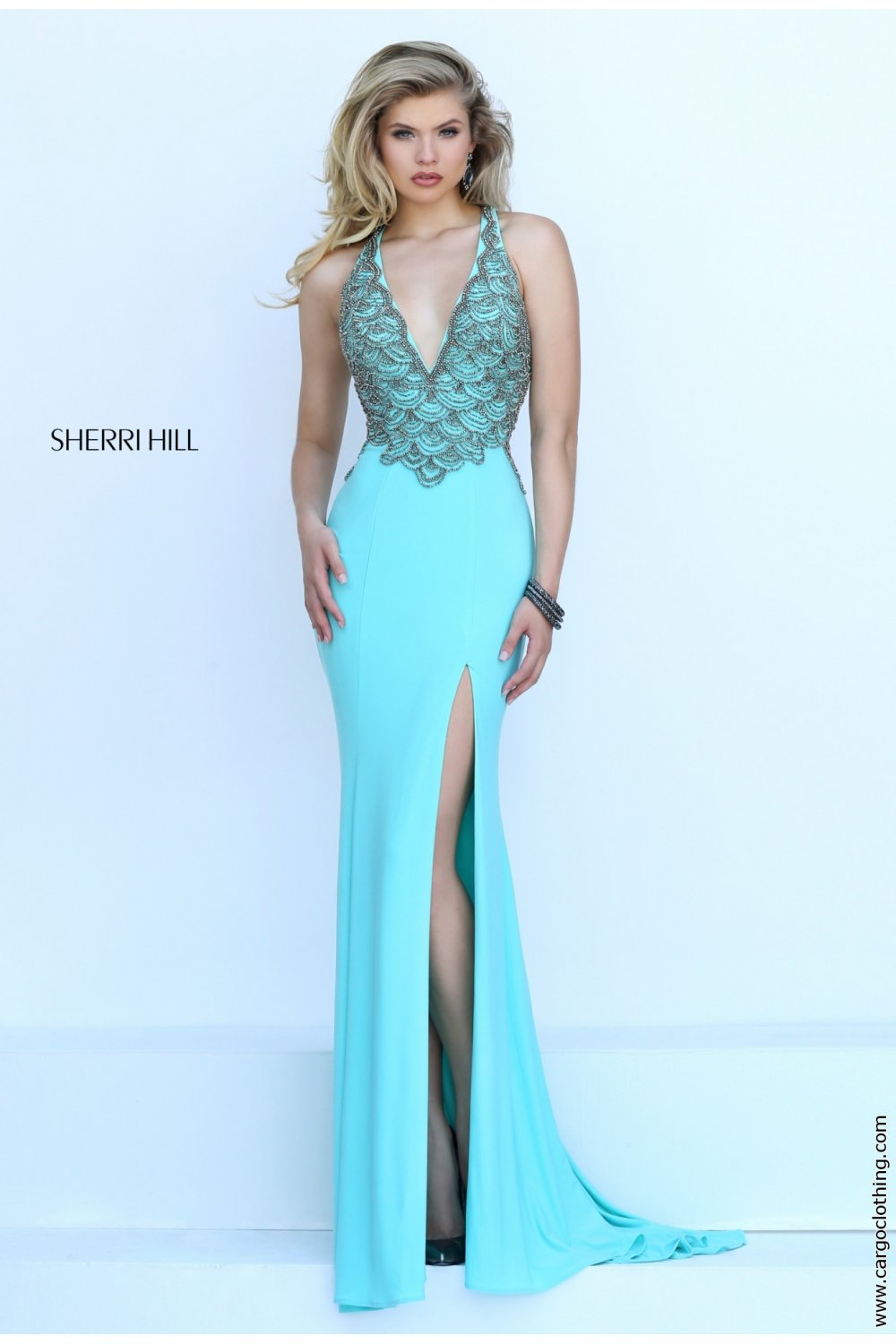 Sherri Hill 50215 V neck plunge evening gown best prices in the uk