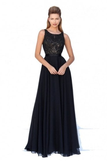 50397 Black Beaded Long Gown
