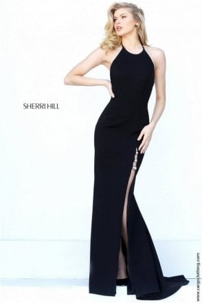 Black 50647 High Leg Split Halter Neck Open Back Dress