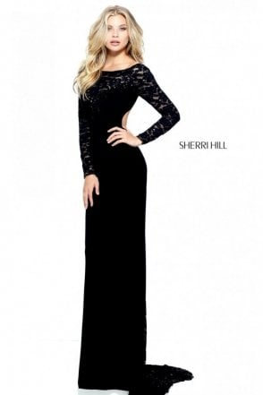 Black 51128 Lace and Jersey Fitted Long Sleeve Dress